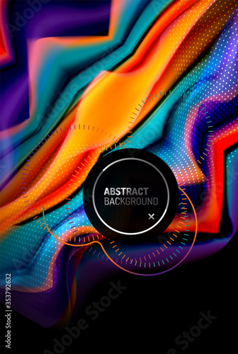 Fototapeta Liquid gradients abstract background, color wave pattern poster design for Wallpaper, Banner, Background, Card, Book Illustration, landing page obraz