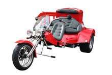 Red Motorcycle Isolated On White