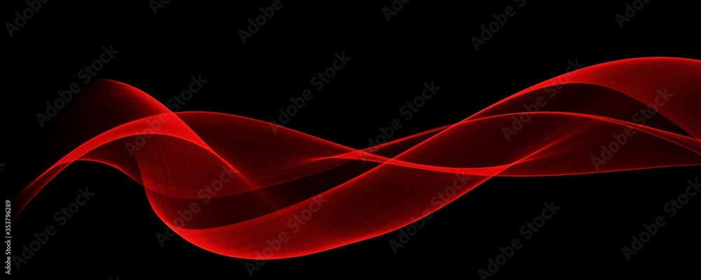 Fototapeta  Abstract red wave curve smooth on black design modern luxury technology background illustration.