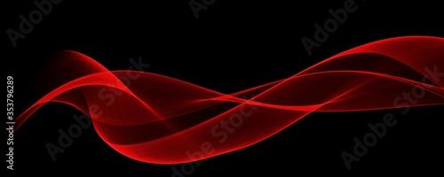 Fototapeta  Abstract red wave curve smooth on black design modern luxury technology background illustration.  obraz