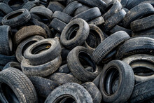 Big Pile Of Automobile Tires O...