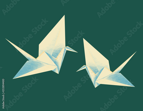 Origami crane vector stock illustration with texture Canvas Print
