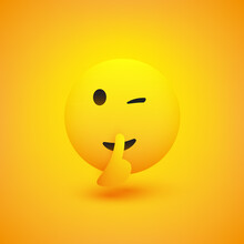 Winking, Shushing Face Showing Make Silence Sign - Simple Emoticon On Yellow Background - Vector Design Illustration