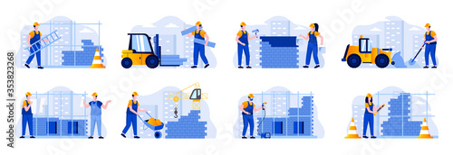 Fotomural Construction site scenes bundle with people characters
