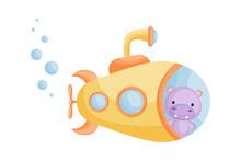 Cute Cartoon Hippo Looks Out Of Yellow Submarine Window. Design Of T-shirt, Album, Card, Invitation.