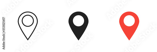 Foto Pointer location set icon on white background. Isolated vector