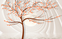 3d Mural Wallpaper Abstract Gray Background , Tree With Brown Stem And Flowers . Will Visually Expand The Space In A Small Room, Bring More Light And Become An Accent In The Interior