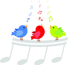 Singing Birds. Vector Illustration Of Three Little Birds Singing Happily With Musical Notes