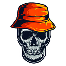 Skull Wearing Bucket Hat Vector Illustration Isolated On White Background