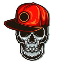 Skull Wearing Snapback Hat Vec...