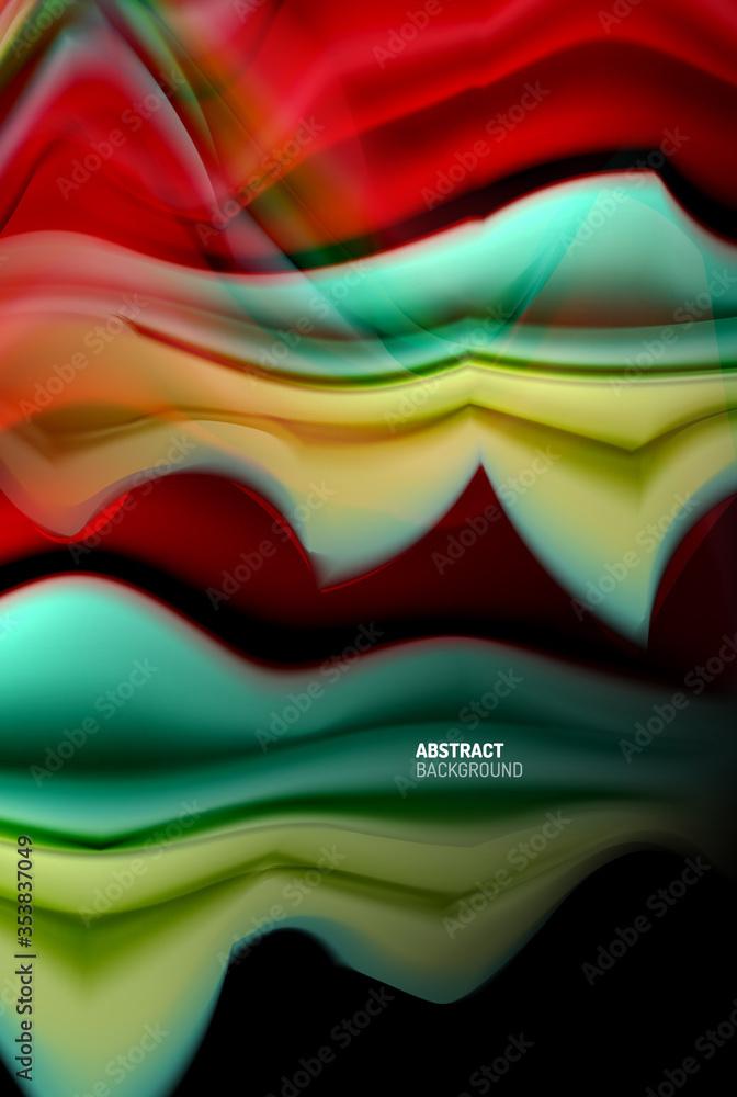 Fototapeta Liquid gradients abstract background, color wave pattern poster design for Wallpaper, Banner, Background, Card, Book Illustration, landing page