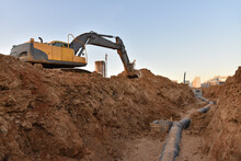 Excavator Dig The Trenches At ...