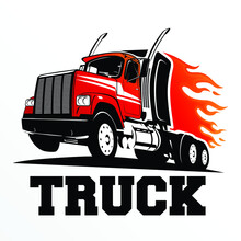 Truck Logo Design Inspiration, Design Element For Logo, Poster, Card, Banner, Emblem, T Shirt. Vector Illustration