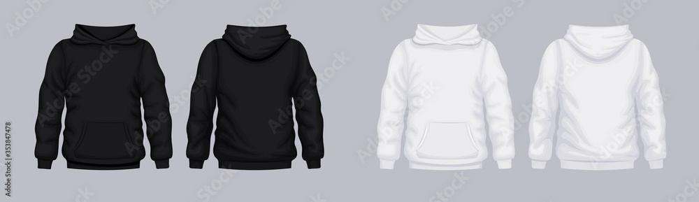 Fototapeta White black hoodie front back mockup. Fashionable template sweatshirt casual clothes with hood cotton vector textile unisex set for sports walking.