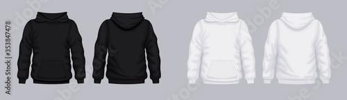 Fotografía White black hoodie front back mockup