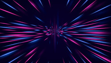 High Speed Neon Hyper Jump. Futuristic Neon Effect Flying Through Space Bright Dynamic Glow Red Blue Lines Subspace Flight Of Vector Spacecraft To Orion Constellation Hyperpaint Time Tunnel.