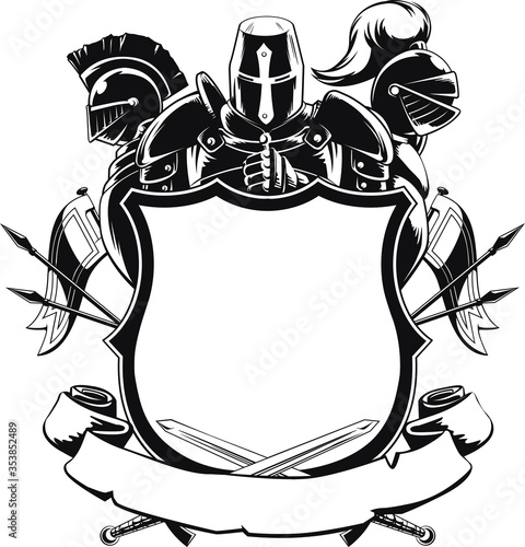Fotografie, Tablou Knight & Shield Silhouette Medieval Crest Coat of Arms Heraldry Ornament