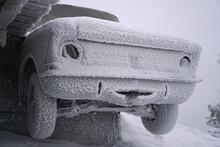 Frozen Abandoned Car, Broken V...