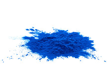 Blue Spirulina Powder Isolated On White Background. Phycocyanin Extract. Natural Superfood, Vegan, Healthy Dietary Supplement. Close-up Of Blue Spirulina Bacterium Over White Background.