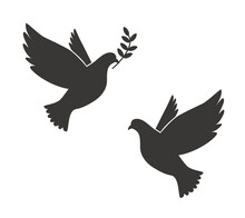 Black Silhouette Of Flying Dove With Olive Twig Vector Icon Template Illustration