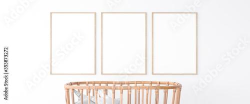 Obraz Interior of the child room. sleeping place for newborn. Closeup trendy wooden crib  3d illustration. Mock up frame - fototapety do salonu