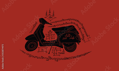 Motocycle in Thai tradition painting,Thai tattoo, vector Canvas Print