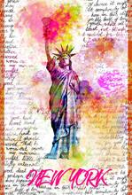Liberty Statue New York Pop Art Illustration - Bright Rainbow Colors, Pink Prange Yellow, Typography Graphic Art