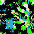artistic tropical wild leaves and floral seamless pattern