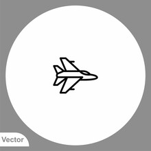 Fighter Jet Vector Icon Sign S...