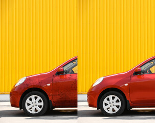 Modern red automobile before and after washing outdoors