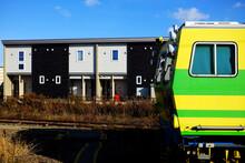 Close Up Yellow Locomotive Wit...