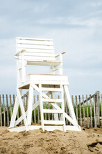 Empty Lifeguard Chair At Beach On Cape Cod