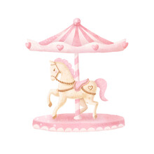 Watercolor Baby Carousel. Baby...