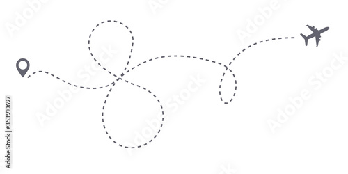Fotomural Vector infinity or 8 eight airplane route travel path