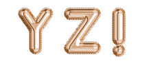 Gold Foil Balloon Alphabet Set Letter Y, Z, Exclamation Mark Realistic 3d Illustration Metallic Pink Gold Air Balloon. Collection Of Balloon Isolated Ready To Use In Headlines, Greeting, Celebration