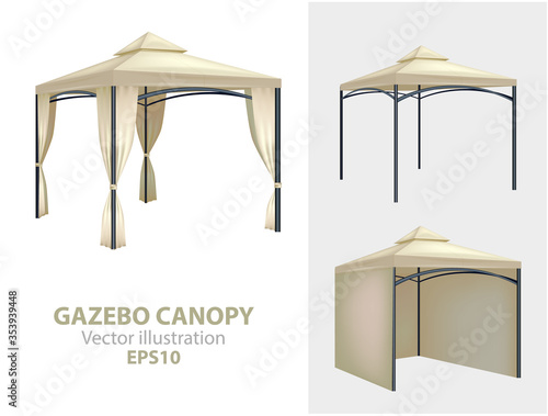 Fototapeta summer white garden tent canopy, which is foldable and compact. Realistic white outdoor folding party tent. Mockup marquee, shelter from sun for beach and garden illustration obraz