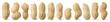Leinwandbild Motiv Peanuts diversity. 12 raw shelled peanuts of different shapes standing vertically isolated on white background