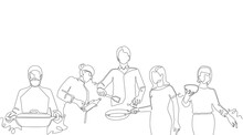 Vector Background With Hand Drawn One Line Silhouettes Of People Cooking. Seamless Patten.