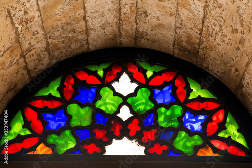 Photo Arabic designed colored glass arches, Mohamed Ali Alabaster Mosque Cairo