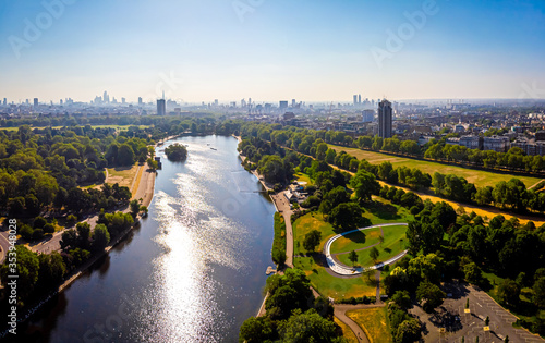 Leinwand Poster Aerial view of the Serpentine in Hyde park, London