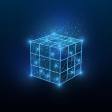 Intelligence And Tech Innovations. Glowing Polygonal Rubik Cube On Dark Blue Background, Illustration