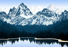 Vector Lake In Mountains Range In Forest