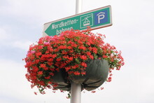 A Road Sign With Red Flowers In Innsbruck, Austria.