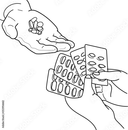 Tela Drawing of medicine capsule drug strips given to people
