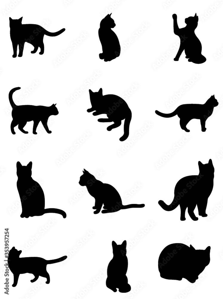 Fototapeta set of cats silhouettes