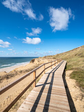 Wooden Pier Along The Rotes Kliff, Sylt, Schleswig-Holstein, Germany