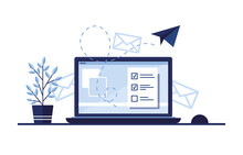 Vector Banner Illustration Of Email Marketing. Workplace At Home, In The Office. Laptop. Paper Airplane. Completed Application Form For The Site. Filling Out Documents. Monitor Screen. Blue. Eps 10
