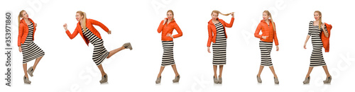 Fototapeta Young woman in long striped dress isolated on white obraz
