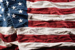 Top view Flag of the United States of America on wooden background. Independence Day USA, Memorial Day and Veterans Day concept.