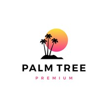Palm Tree Sunset Logo Vector I...